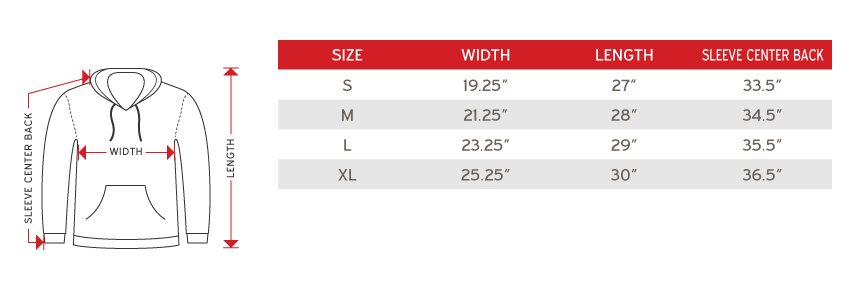 full zip sweater Size chart