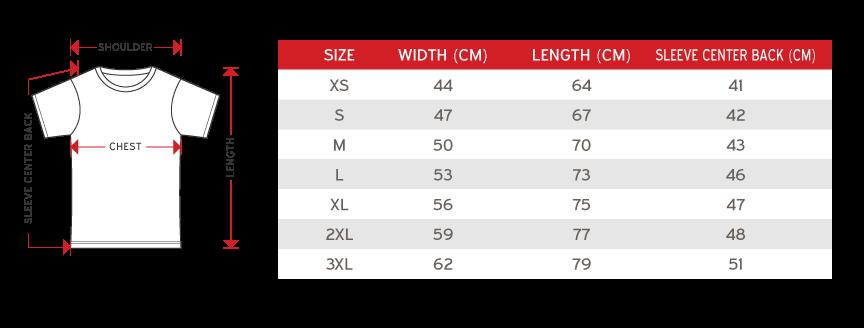 Enzo Unisex Round Neck Size chart
