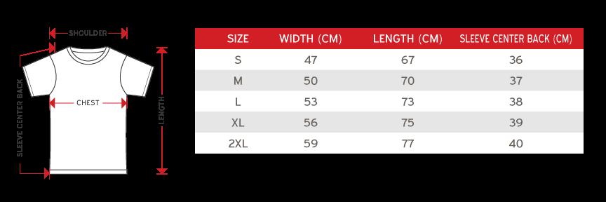 raglan premium cotton size chart