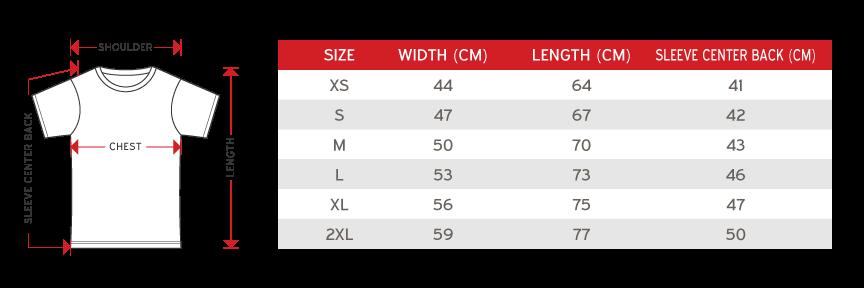 Gildan Unisex Round Neck Size chart