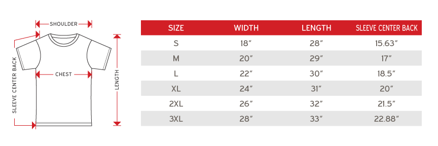 Gildan ultra cotton size chart
