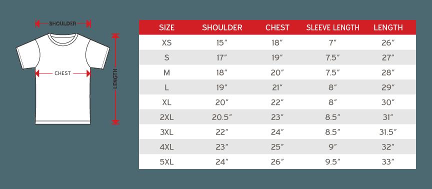 Alam Fashion Microfiber Unisex Round Neck Short Sleeve Size chart