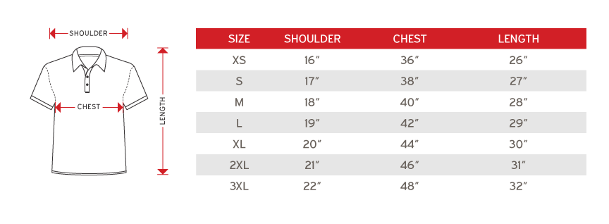 North harbourUnisex Polo Size chart
