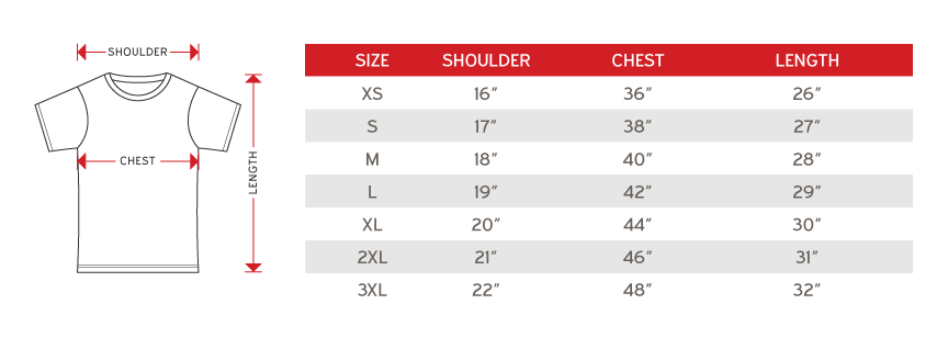 Sublimated Jersey cross runner male size chart