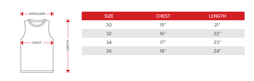 Arora Junior Sub t-shirt sleeveless Size chart
