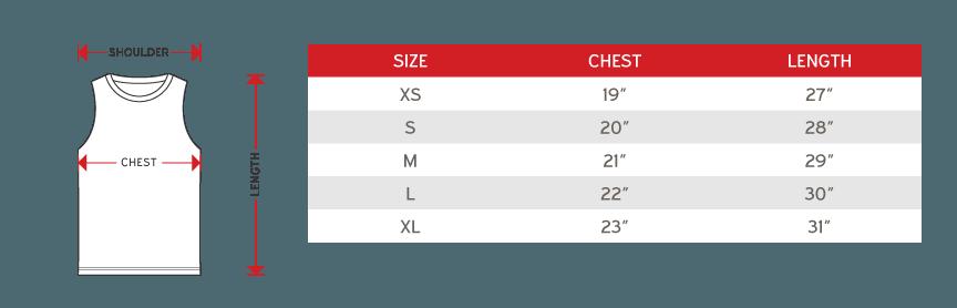 Arora Senior Sub t-shirt sleeveless Size chart