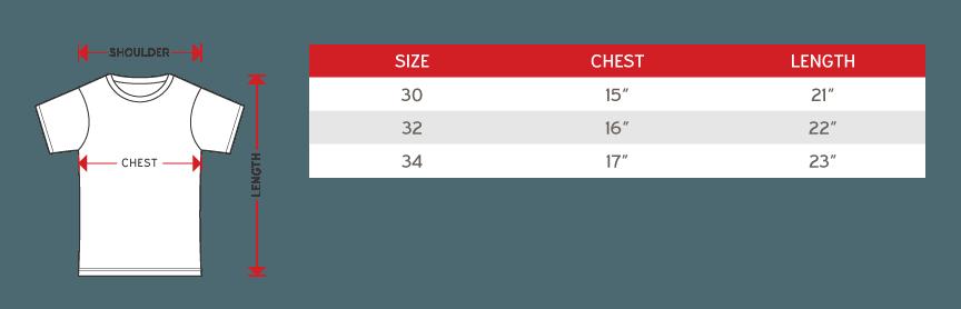 Arora Round Neck sublimation tee short sleeve junior Size chart