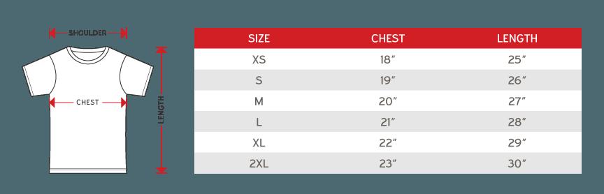 Arora sub t-shirt short sleeve Size chart