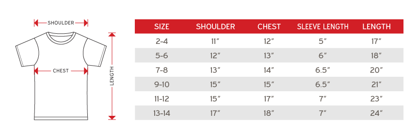 Alam Fashion Kids Round Neck Short Sleeve Size chart